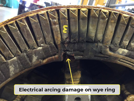 Electrical Arcing Damage on Wye Ring